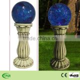 Mosaic roman column with blue glass ball solar light for garden decoration