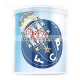 Top quality lovely metal round money saving tin can box with beautiful pattern