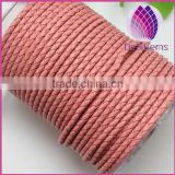 wholesale light pink color 3mm braided genuine leather cord for bracelet
