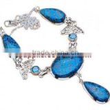 Royal!! Hattuckite Blue Topaz Jewellery H331 White Gold Diamond Stud 14K Earrings Jewelry Websites