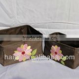 set of 2 canvas storage basket with lining and flower embroidery