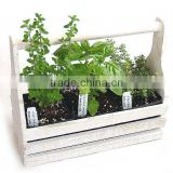 Wooden Herb Planter, Herb Garden Tool Box, Oval Seed Planters With Tray