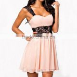New!Women summer Sexy Fashion Cocktail Evening Party Pink lace mini short Dress