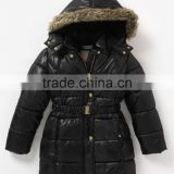 100% Polyester, Taffeta, Unisex Baby Hooded Quilted Padding Jacket with Fur and waist belt