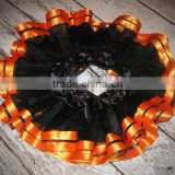 wholesale price baby halloween party costumes dance tutu pettiskirt black with orange ruffles baby girl dress pettiskirts