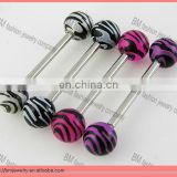 Fashion zebra acrylic plastic tongue rings body piercing jewelry