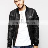 Men Leather Jacket / Genuine Leather Jacket / Sheepskin Leather Jacket Rough Look Biker
