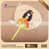 Long Handle Customized advertisement plastic PP paper advertising hand fan