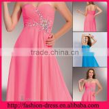 Comfortable Cross Criss Sweetheart and Strapless Sparzling Beaded beside the Flowing Empire Waist Long Chiffon Evening Dress