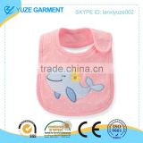pink cute whale embroidery baby bib