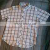 White/blue cotton plaid casual shirt with botton-down collar mens short sleeve workwear shirt