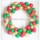 Ooutdoor Christmas Ball Wreath/Christmas Decoration Wall Plastic Wreath with snowflake And Colorful Balls