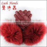 Fashion ladies leather gloves with real rabbit fur cuff,fox fur,milk fur leather gloves
