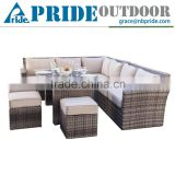 Wicker Rattan Outdoor Furniture Garden 9 Seater L Shaped Rattan Living Room Modern Sofa Set