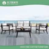 China wholesale resin plastic rattan woven outdoor garden furniture with table and chair