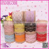 0.06*2M Jute Burlap colourful heart lace roll customized DIY decoration jute roll