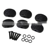 Oval Shape Black Strip Guitar Plastic Machine Heads Tuning Pegs Buttons With Screws and Washers Guitar Parts Pack of 6
