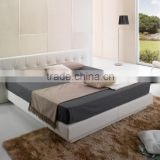 Modern Fashion Style King Size Bedroom Furniture White Leather Bed , Luxury and Soft elegant king leather bed