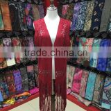 2015 New fashion Red suede shawls with fringe leather tassels in Yiwu