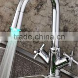 LED bibcock kitchen sink faucet/mixer with dual cross handle QH1893F