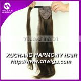 Double drawn quality pony tail hair extensions/hair pieces bangs usual on stock
