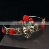 Top Quality gold headbands red butterfly flower hairbands hair hoop accessories for women