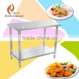 Two layers OEM customsizes size stainless steel commercial industrial kitchen work table bench used in hotel restaurant