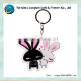 cute rabbit couple acrylic keychain laser cut/acrylic key chain/plastic spring key chain