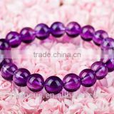 Genuine Natural Brazil Purple Amethyst Quartz Crystal Round Beads Stretch Bracelet Bless 4-12mm