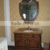 Yellow wood-grain marble Antique single sink wooden mirror and vanity top with Baltic Brown/Classic solid wood cabinet