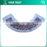 Violet Rectangle 5MM Rhinestone Indigo Mesh Neckline Applique Collar Mermaid Wedding Dress