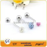 Beautiful tongue rings with colorful crystal stainless steel hot sell body piercing jewelry
