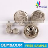 Free sample nice designer zinc alloy die cast remove metal buttons jeans