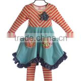 Stripe long dress plus size christmas dress western girl outfit child garment girl party clothing