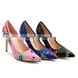 2016 Lady elegant African wax print shoes flower print high heel low-cut shoes