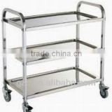 3 tier hotel restaurant fshiny stainless steel fast food and wine trolley/equipment