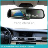 "4.3"" high brightness car rearview mirror with parking sensors optional function: bluetooth backup camera"