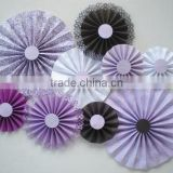 YiWu Wholesale PartySupplier Lavender paper rosettes, lavender, brown, white, various shades of purple for wedding photo backdro