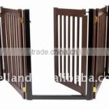 Free Standing Walk Through 5 Panel Wood Pet Gate / Folding dog gate with 4 panels(32H, 108W) -E