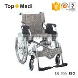 Topmedi foldable aluminum manual wheelchair with swing away armrest