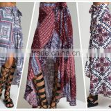NEW SUMMER STYLE Asymmetrical HEM BEACH BOHO PRINTED LONG CASUAL SKIRT