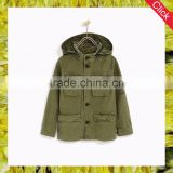 China wholesale high quality custom oem service boys fashion hooded plain denim military jacket