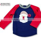 New style fashion boy's shirt kids Baseball Raglan Long Sleeve christmas shirt children's boutique clothing