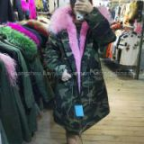 2017 Latest Designs warm Camouflage color for parka, fur lined hooded woman,bomber  fur jacket