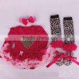 Wholesale leopard valentines rompers baby clothes M5040339