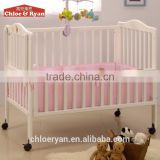 High quality wood comfortable bed extender for baby with mosquito net and baby bed hanging toy