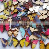 Wholesale DIY 2 Hole Buttons Butterfly Wood Button Carton Colorful Clothes Buttons