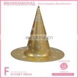 Felt polyester conical halloween pokemon gold witch hat printed white star