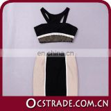 2014 hotest black two piece sequin bandage dress sexy belly dancer dress