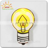 Different shape customized(lamp bulb shaped)led badge with safety pin for all party, high quality, party favor